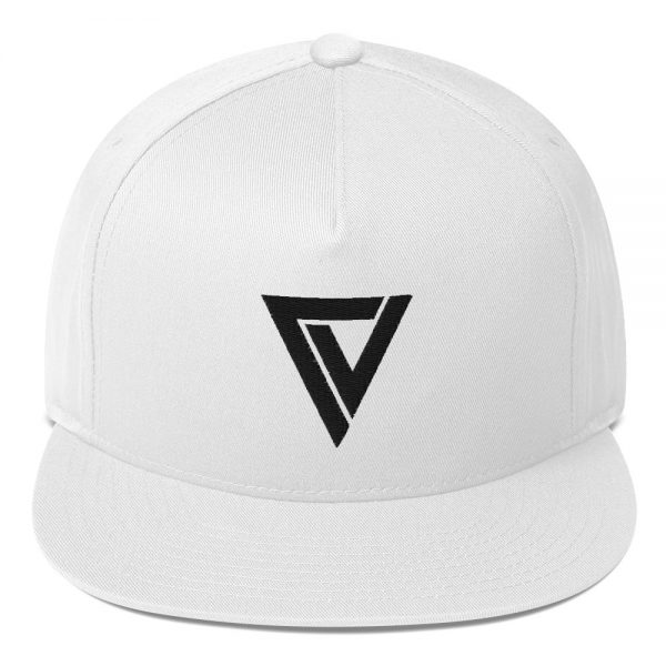 Christian Vale Embroidered Flat Bill Cap White