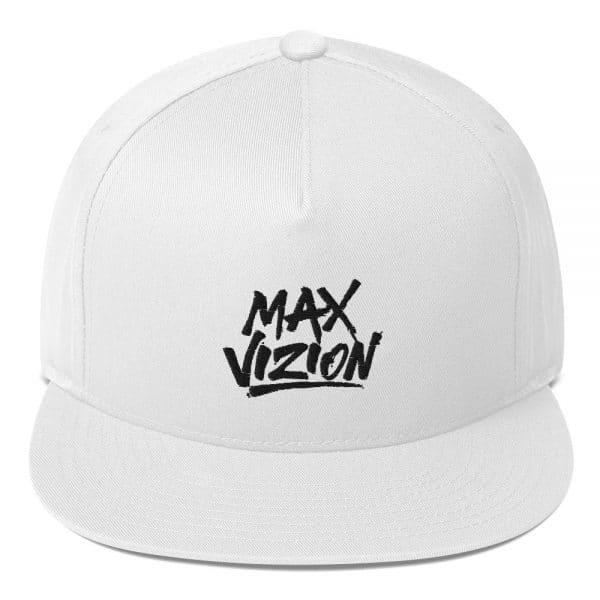 Max Vizion Official Logo Flat Bill Cap White