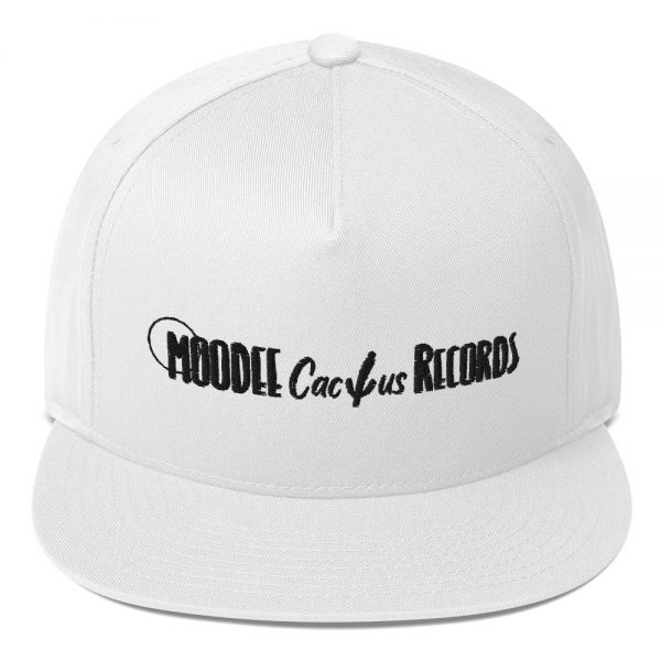 Moodee Cactus Records Official Logo Flat Bill Cap White