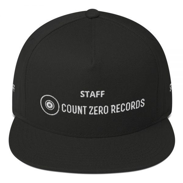 STAFF - Count Zero Records Official Logo Flat Bill Cap (Premium Embroidery)